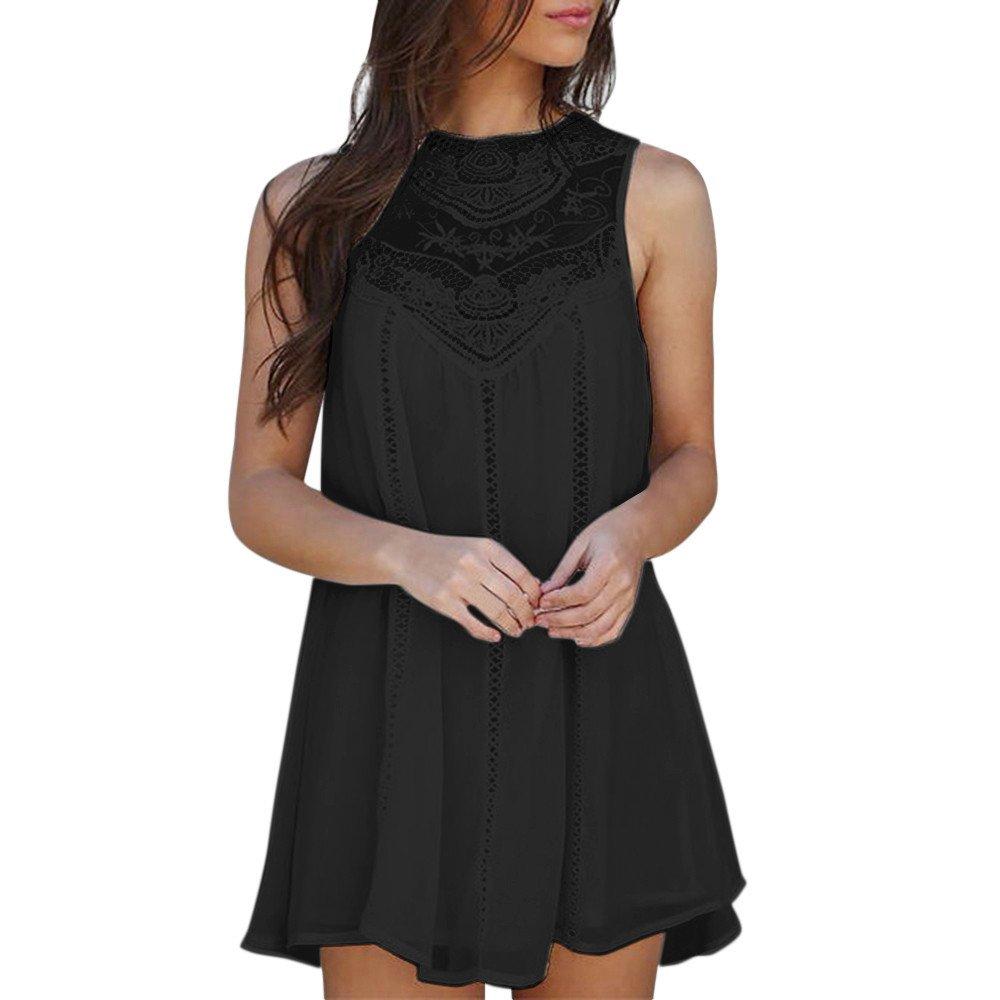Mlide 2019 New Women's Casual Solid Lace Stitching O-Neck Sleeveless Lace Chiffon Mini Dress,Black S