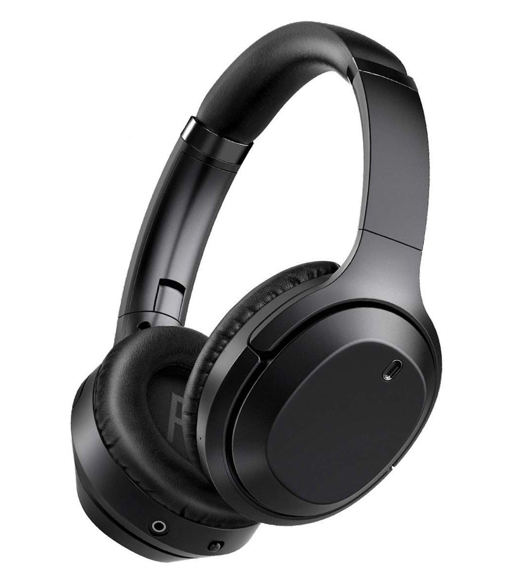 gorsun Bluetooth Headphones Over Ear, Wireless Headphones, Foldable Hi-Fi Stereo, Soft Memory Protein Earmuffs, Built-in Microphone & Wired Mode for Cellphone PC (Black)