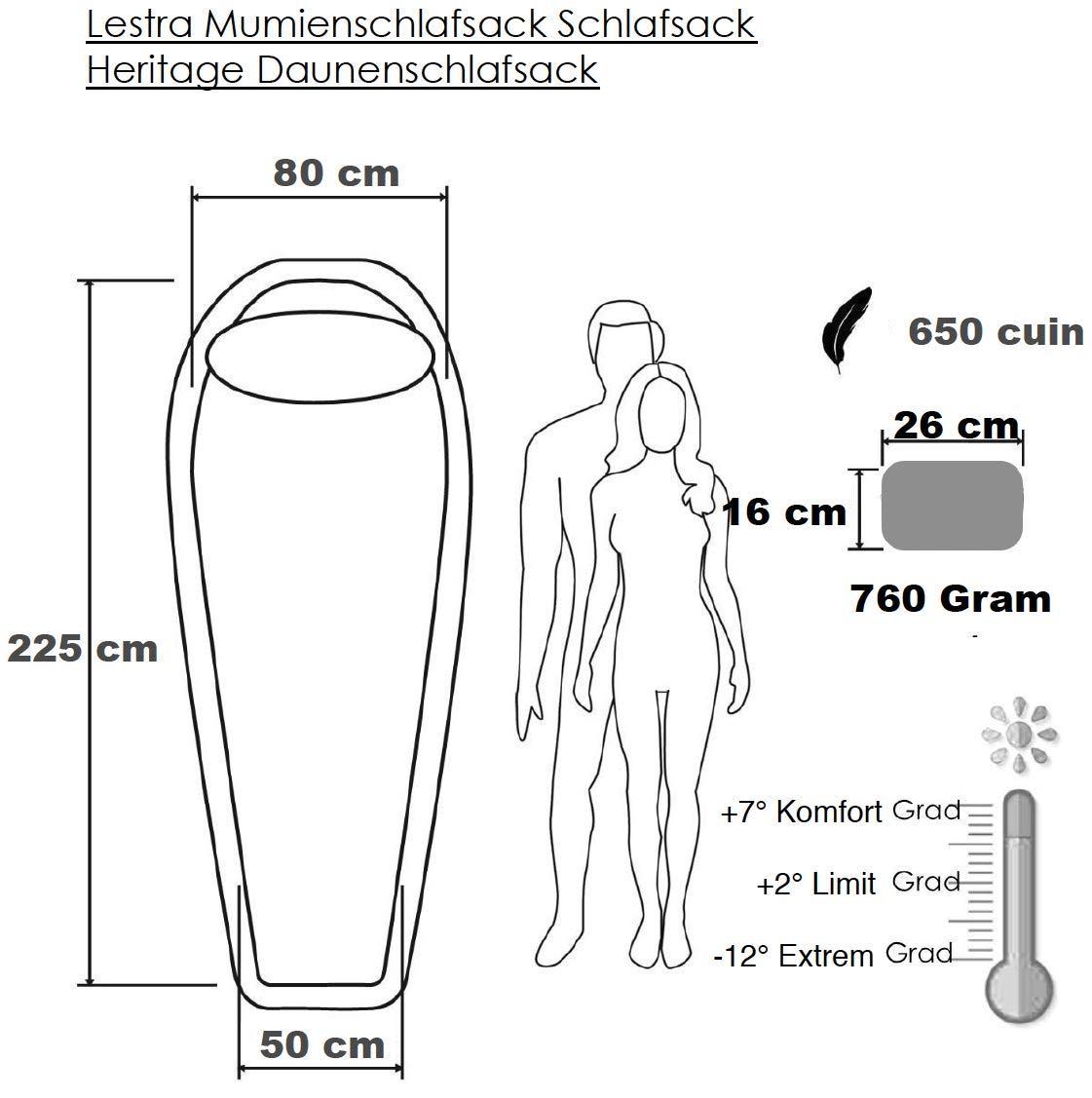 12 Grad Lestra Mumienschlafsack Schlafsack Heritage Daunenschlafsack 760 Gramm bis