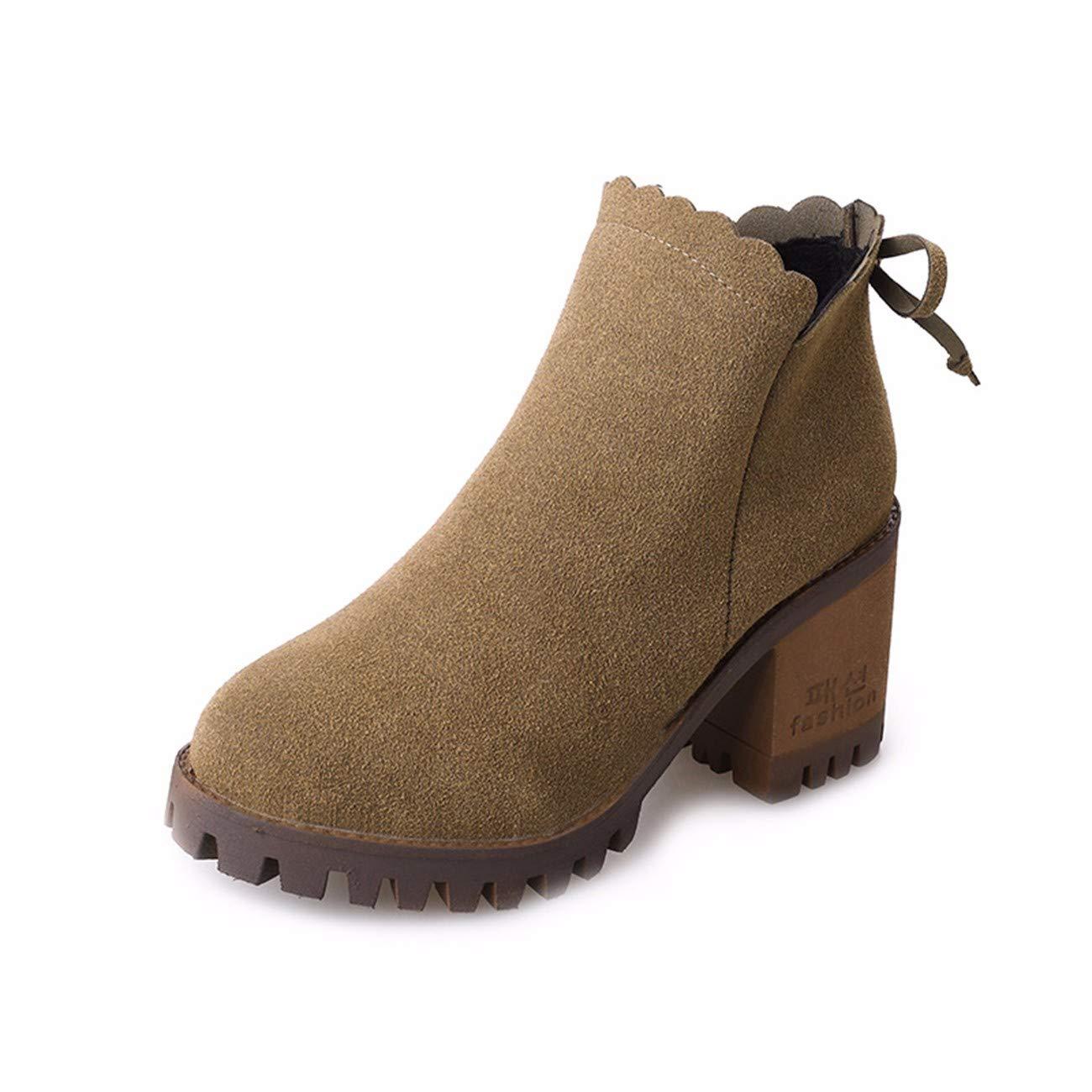 QPGGP-Stiefel Runde Kopf Hochhackigen Schuhe Herbst - Winter - Stiefel Frauen - Stiefel Sind Warm Und Anti-Skid.