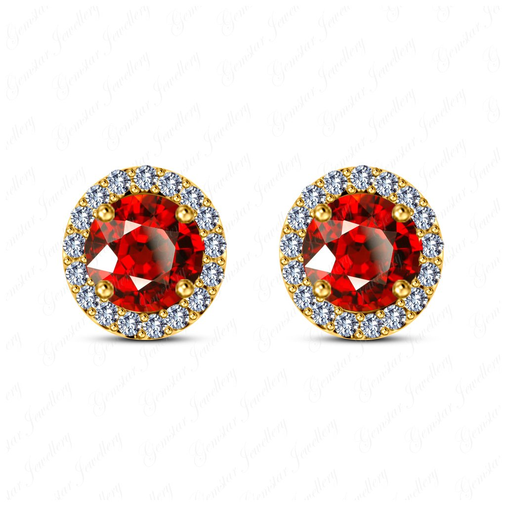 Gemstar Jewellery Red Garnet /& White Simulated Diamond 18K Yellow Gold Fn Screw Back Halo Stud Earrings