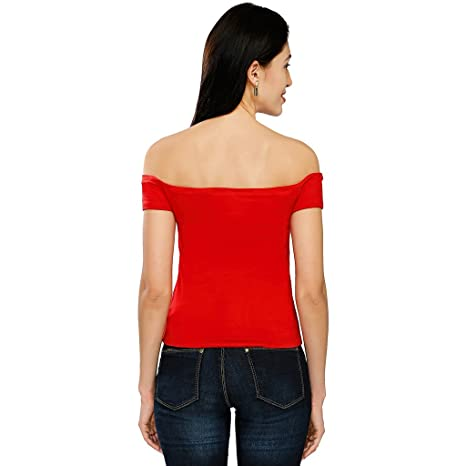 aa10a005c53e3c Smarty Pants Women s Cotton Lycra Red Coloured Off Shoulder Top  Amazon.in   Clothing   Accessories