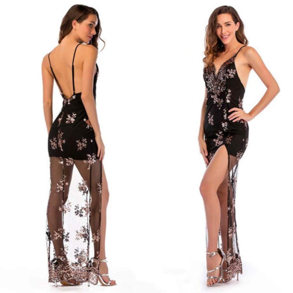 A SPFAZJ 2019 European and American Women's Explosions Sequins Deep VNeck Sling Sexy Backless Perspective Dress Long Skirt