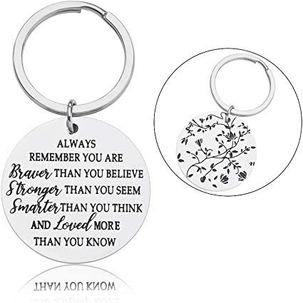 Key Rings Graduation Gifts for Women Girls Best Friends You are Braver Smarter Stronger Than You Think