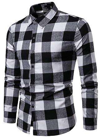 Jmwss QD Mens Long Sleeve Plaid Shirt Slim Leisure Button Front Shirts