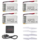Goldenwide 3.7V 600mAh  20C Lipo Battery (4pcs) with 4 In 1 Battery Charger for Syma, Cheerson and Akaso