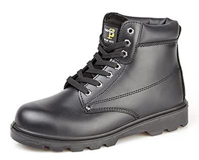 d5507f58aaf Grafters Mens Boys Black Leather Steel Toe Cap Safety Work Boots ...