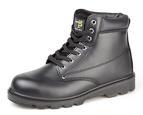 Grafters Mens Boys Black Leather Steel Toe Cap Safety Work Boots ... 0b063341e0ba