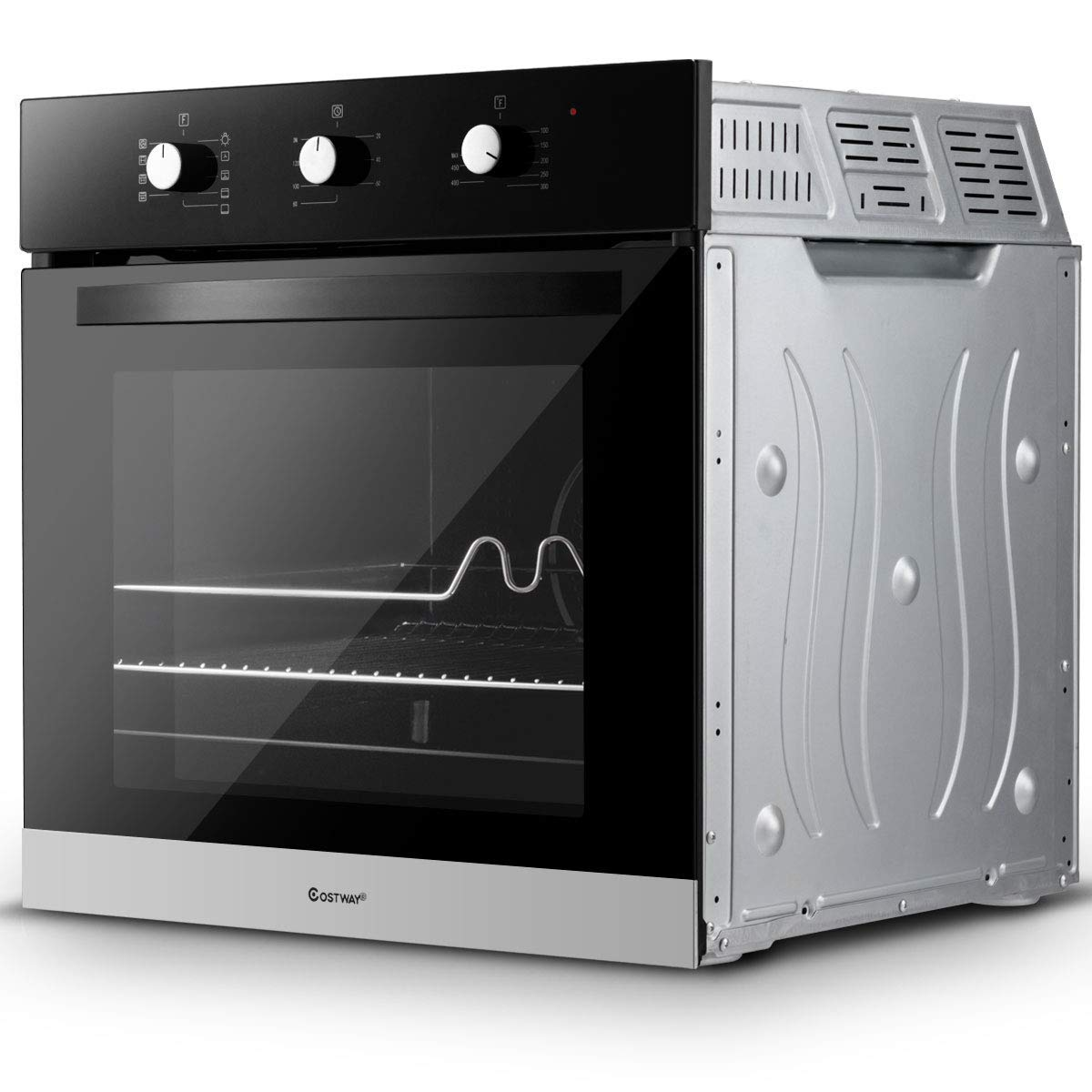 """Costway 24"""" Built-In Single Wall Oven Electric 2.5 Cu. Ft. Capacity Tempered Glass Multi-Function European Convection Oven with Push Buttons Control (9-Functions)"""