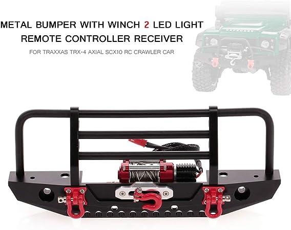 Goolsky Parachoques de Metal con Winch 2 LED Receptor de Control Remoto de luz para Traxxas TRX-4 Axial SCX10 RC Crawler Car