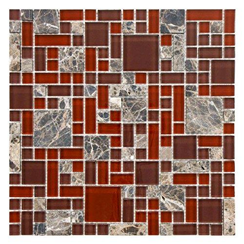 [SomerTile GITTMVBO Sierra Versailles Bordeaux Glass and Stone Mosaic Wall Tile, 11.75