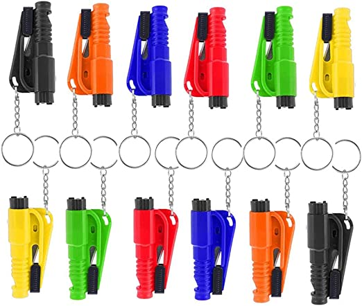 3 in 1 Car Life Keychain,12Pack Emergency Escape Tool,Car Escape Tool to Break Window Glass