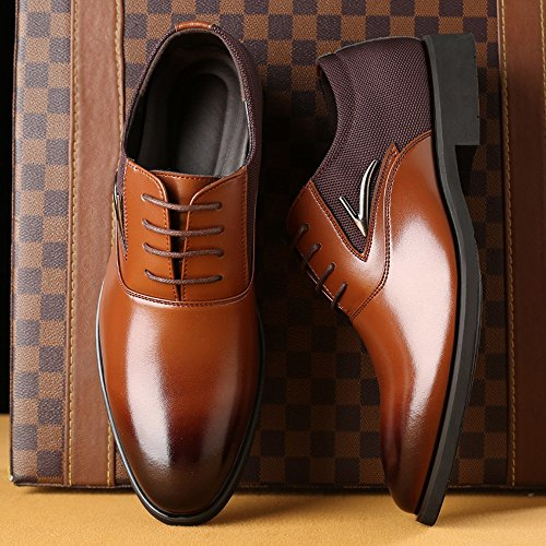 formali 48 Fodere Smooth Uomo Marrone Pelle Splice traspirante da Canvas EU Up uomo Scarpe Dimensione Upper shoes amp; PU lavoro Xiaojuan Color fodera da in Marrone Lace Scarpe Z4ICwq