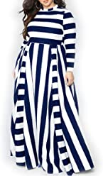 bddb7f4804e YUHENG Women Plus Size Dress Long Sleeves Stripes Party Dress Long Maxi  Dress