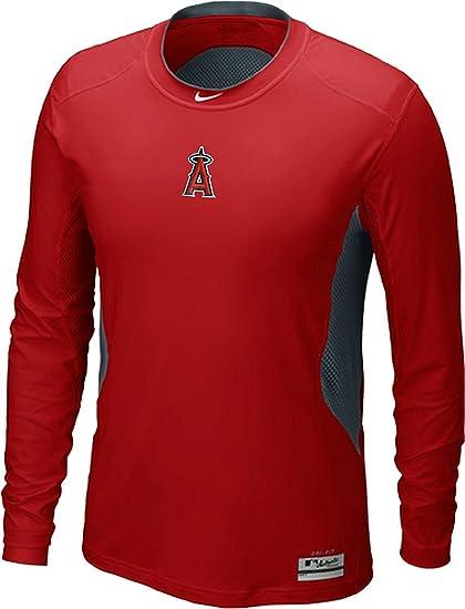 79035f0b Nike Los Angeles Angels Anaheim MLB Hypercool DriFit AC Fitted Shirt Long  Sleeve (Red,