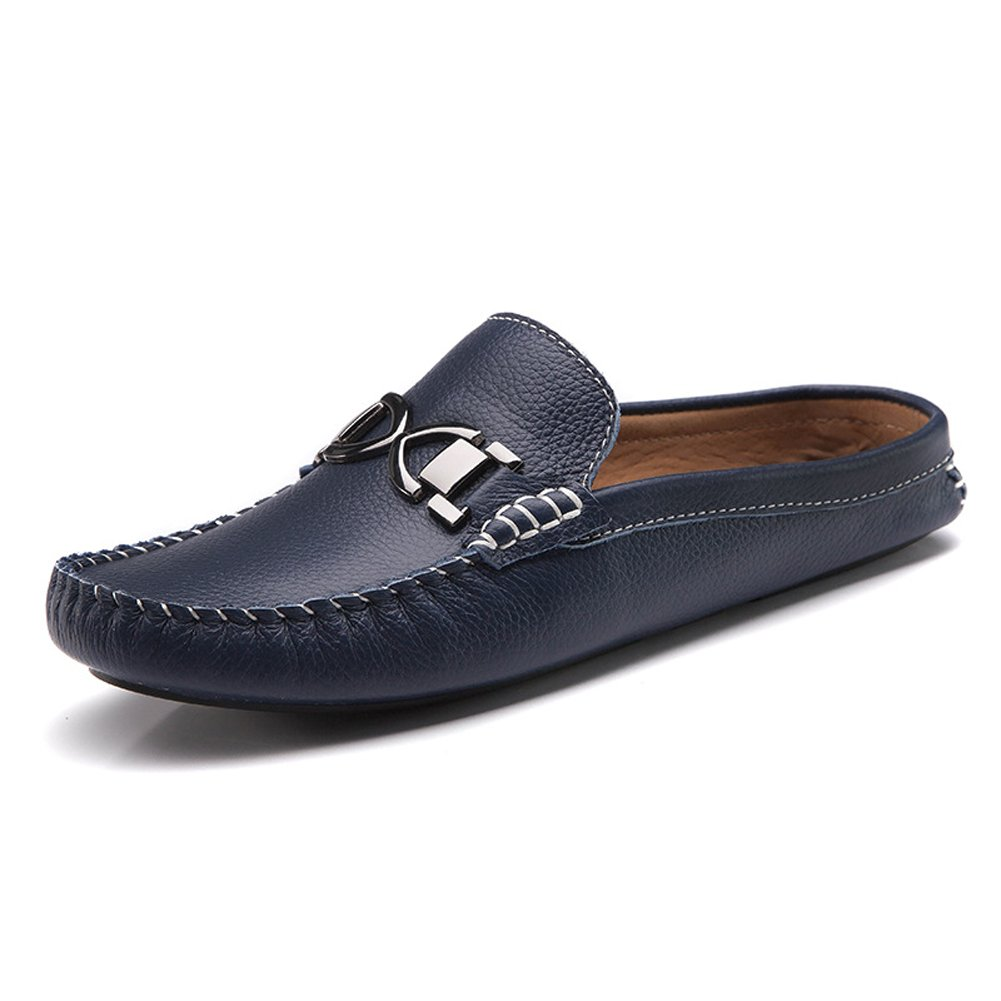 Santimon Men's Buckle Leather Slippers Slip-on Loafters Shoes Leisure Loafers Blue2 8 D(M) US