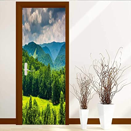 amazon com leighhome art decor 3d door wall mural wallpaperleighhome art decor 3d door wall mural wallpaper stickers view of mountains in the potomac highlands