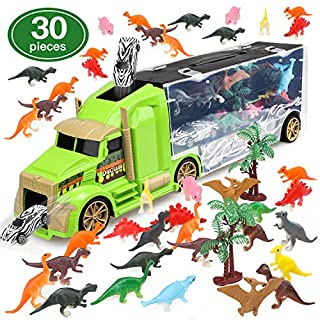STEAM Life Dinosaur Toys Car Transport Truck Carry Case | 30 Pieces Toy Car Carrier with Ramp Plus Minature Toy Dinosaurs | Kids Toy Dinosaur Truck Best for Boys and Girls Ages 3 4 5 6 7