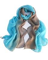 Forever Angel Women's 100% Silk Scarf Oblong Gradient Color Teal blue/Grey
