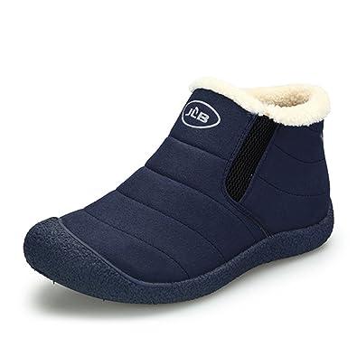 SITAILE Herren Damen Outdoor Knöchelhoch Slip On Komfort Boots Stiefel für Winter,Blau,47