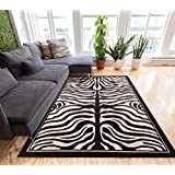 Zebra Animal Print Black & Off-White 8x10 (7 10  x 9 10 ) Mansion Room Area Rug Modern Easy Care & Cleaning Shed...