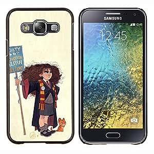 "For Samsung Galaxy E5 E500 Case , Pintura Mago Bruja Chica del arte del gato Dibujo"" - Diseño Patrón Teléfono Caso Cubierta Case Bumper Duro Protección Case Cover Funda"