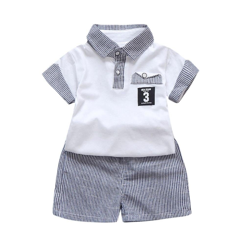 HEHEM 2PC Toddler Kids Baby Boy Letter Printed T shirt Tops+Striped Shorts Outfits 0.5-3 year Baby Boys Summer Clothes 12-18 month, Black