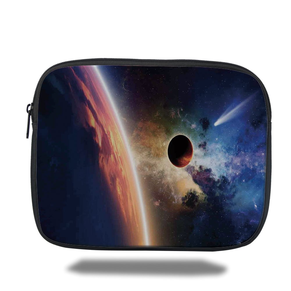 Laptop Sleeve Case,Outer Space Decor,Comet Approaches Vibrant Planet Scientific Realities in Solar System World Scene,Red Blue,iPad Bag