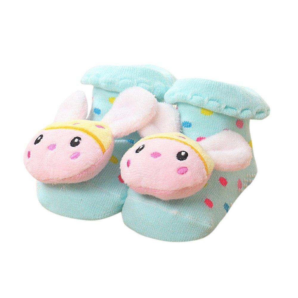 ❤️ Mealeaf ❤️ Cartoon Newborn Baby Girls Boys Anti-Slip Socks Slipper Bell Shoes Boots(0-12months)