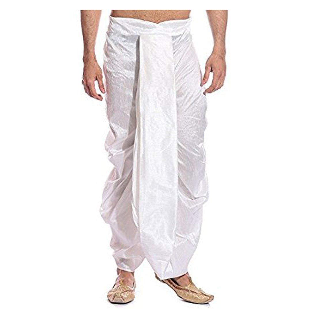 Royal Kurta Men's Super Fine Ryan Silk Dhoti Free Size White