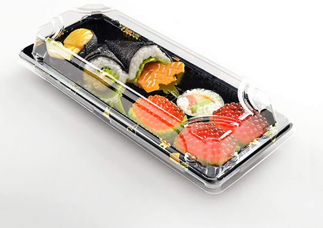Happy Sales HS-DPSM50, Premium Restaurant Quality Small Sushi Tray with Lid -50 Pack