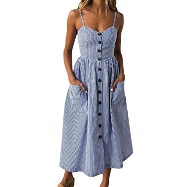 dbb27e4092 Women's Sexy Strappy Holiday Dresses Ladies Button Pocket Summer Beach Midi  Swing Sun Dress