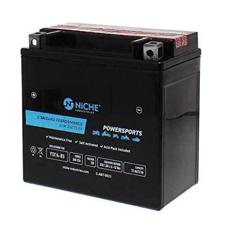 71bb2e3d NICHE Performance Series Replacement AGM Battery for YTX14-BS,  Rechargeable, Maintenance Free,