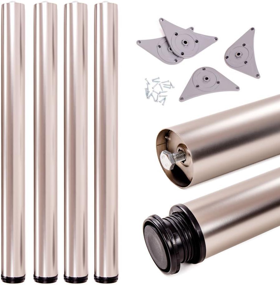 Juego de patas extensibles de mesa   Sossai® Premium TBS   Óptica de acero inoxidable   Altura regulable 710 mm + 20 mm   Set de 4 unidades