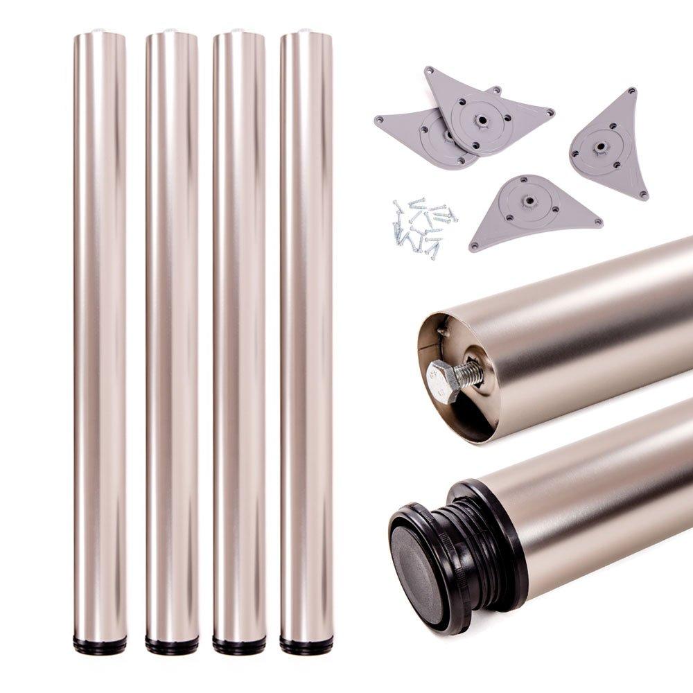 20 mm /Óptica de acero inoxidable Sossai/® Premium TBS Juego de patas extensibles de mesa Altura regulable 1100 mm Set de 4 unidades