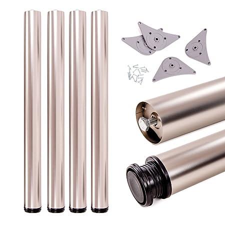 Sossai/® Premium TBCH Adjustable +2 cm Height Adjustable 82 cm Table Legs 820 mm Set of 4 Design: Chrome