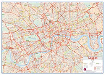 huge central london street map laminated and board mounted amazoncouk kitchen home