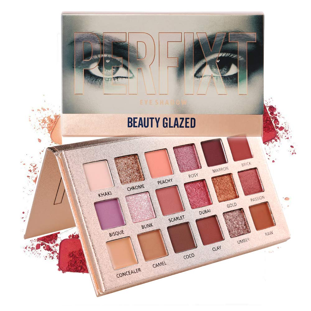 Beauty Glazed Perfect Mix Neutral Eyeshadow Shimmery High Pigmented Palette 18 Matte Shimmer Colors Glitter Long Lasting Makeup Palette Powder Pink Shades Eye shadow Pallete Beauty Cosmetic