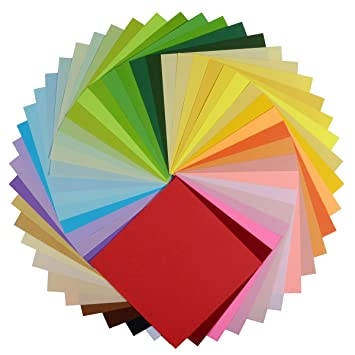 Papel para origami, nexlook superior doble cara 250 hojas 50 colores vivos cuadrado DIY plegable