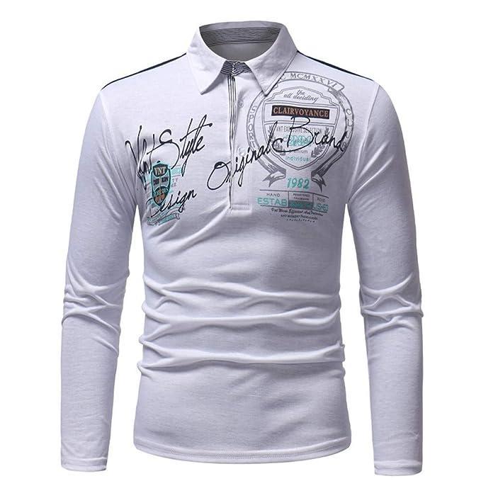 Camisetas para Hombre Mangas Largas Camisas Algodón Imprimiendo ...