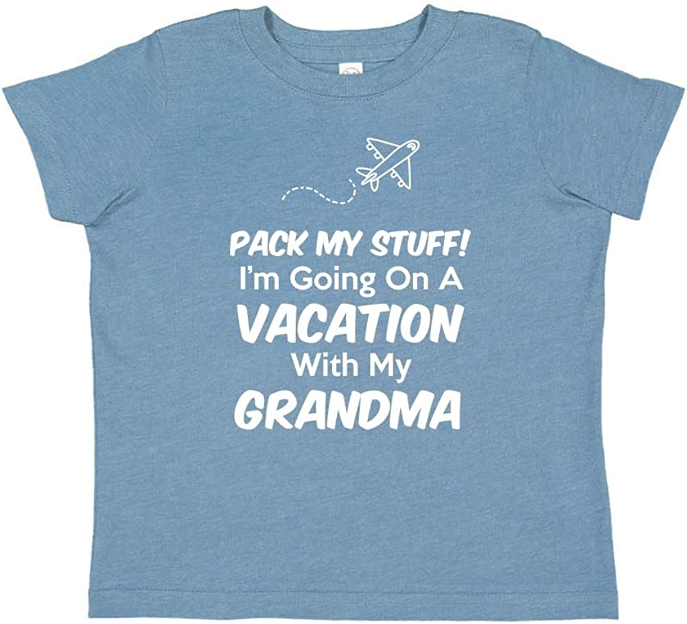Toddler//Kids Short Sleeve T-Shirt Im Going On Vacation with My Grandma Pack My Stuff