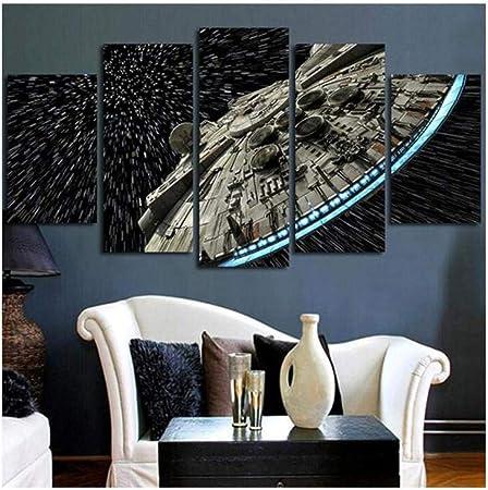 XYZNB Stampe e Quadri su Tela 5 Pannelli Star Wars Destroyer Millennium Falcon Soggiorno Stampa HD Immagini Murali Moderne Immagini Decorazioni per La Casa Poster Senza Cornice Taglia A