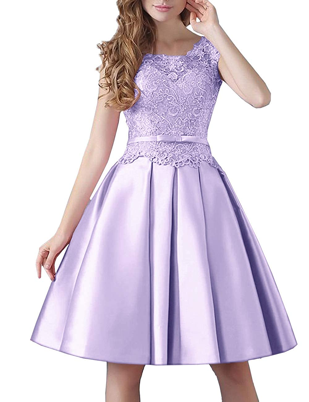 Lavender Uther Prom KneeLength Lace Cocktail Dress Short Stain Homecoming Dresses for Girls