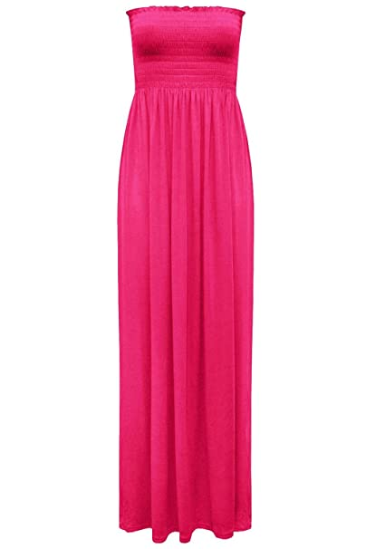 db4d64f206c Fashion Star Womens Boobtube Bandeau Sheering Maxi Dress  Amazon.co.uk   Clothing