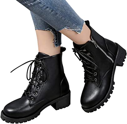 Chunky Military Boots for Women Lace Up
