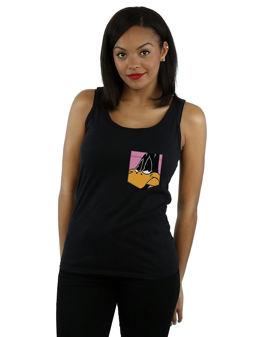 Looney Tunes Womens Daffy Duck Face Faux Pocket Tank Top
