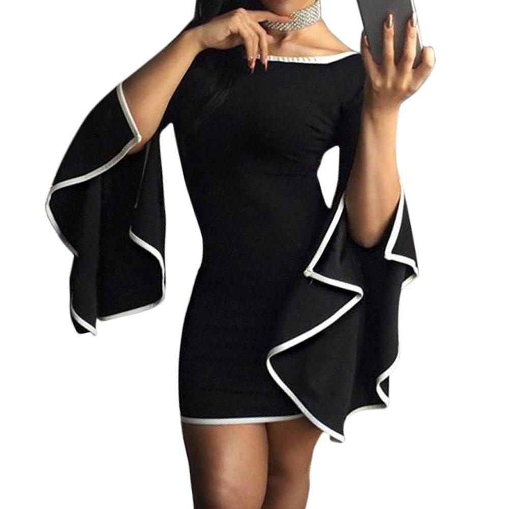 Bodycon4U Women's Asymmetric Flare Bell Bottom Sleeve Bodycon Club Party Mini Dress MKDS1459