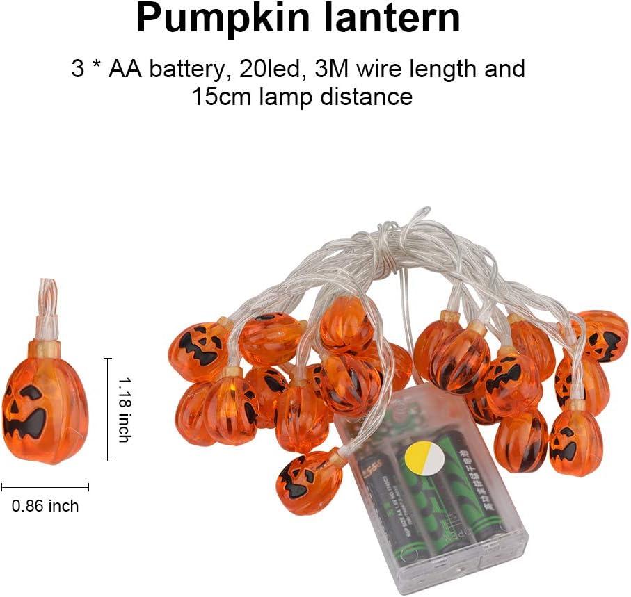 mit 2 Modi Batteriebetriebene LED Lichterkette warm wei/ß 3D Lantern K/ürbislicht Halloween Deko f/ür den Innen- und Au/ßenbereich Eyscoco 20 St/ück 3M LED Halloween Lichterketten