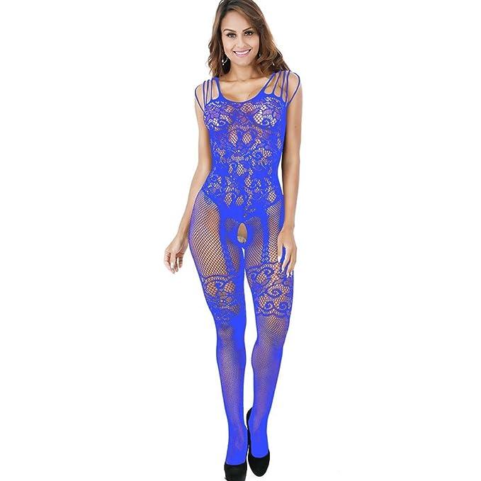 e56df4e8764 Housesczar Women's Nylon Hollow Fishnet Bodysuit (158128.04, Blue ...