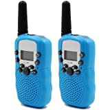 Hyperia Kids Walkie Talkies T-388 8 Channels 2-Way Radio Interphone with Built-in LED Torch VOX LCD Display,1 Pair (Blue)